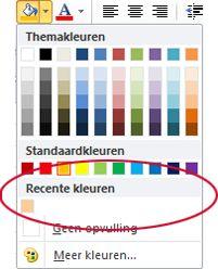 optie recente kleuren