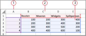 Gegevensvelden in Excel