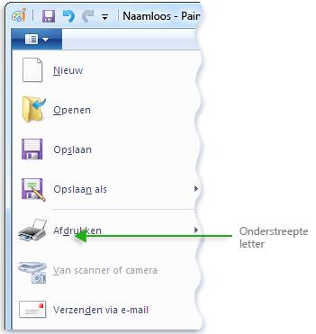 Afbeelding van het menu van Paint met onderstreepte letters in menuopdrachten