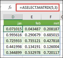 De functie RANDARRAY in Excel. RANDARRAY(5;3) retourneert willekeurige waarden tussen 0 en 1 in een matrix die 5 rijen hoog is en 3 kolommen breed.