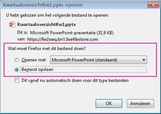 Wat moet Firefox doen met dit bestand?