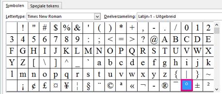 Klik op het tabblad Symbolen op het gradensymbool.