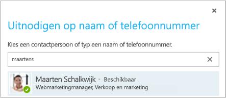 Dialoogvenster Uitnodigen op naam of telefoonnummer