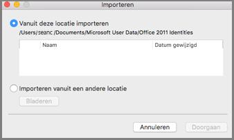 Dialoogvenster Identiteiten importeren met Vanuit deze locatie importeren geselecteerd