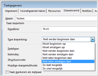 dialoogvenstger taakgegevens, menu type beperking
