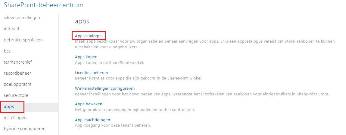 Schermafbeelding van de Appcategorieën van het SharePoint-beheercentrum.
