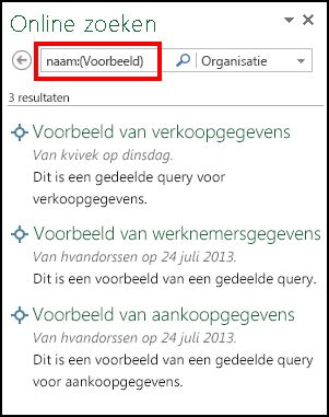 Deelvenster Online zoeken in Power Query