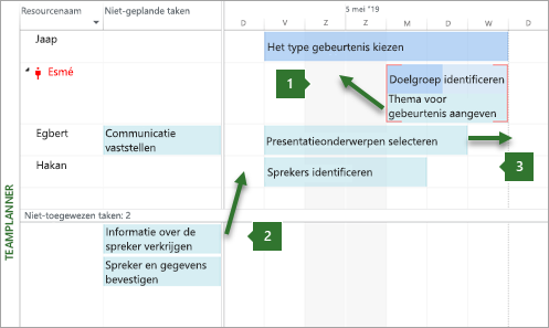 Taken verplaatsen in de team planner
