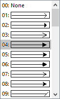 Selecteer een pijlstijl of Geen in het menu voor pijlstijlen.