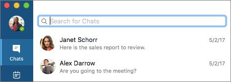 Zoeken naar contactpersonen op het tabblad Chats