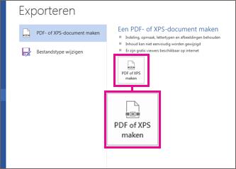Maar een knop PDF of XPS op het tabblad Exporteren in Word 2016.
