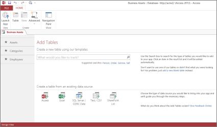 Pagina Tabellen toevoegen in de ontwerpweergave van de nieuwe app