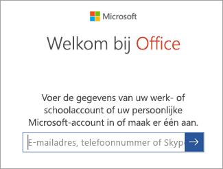 Voer het e-mailadres van uw Microsoft-account of uw Office 365-account in