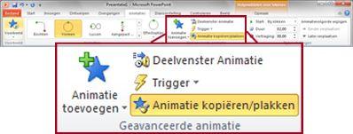 Het tabblad Animaties op het lint van PowerPoint 2010.