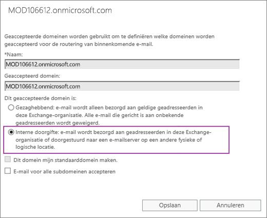 Schermafbeelding van het dialoogvenster Geaccepteerd domein met de optie Interne doorgifte ingeschakeld voor het opgegeven geaccepteerde domein.