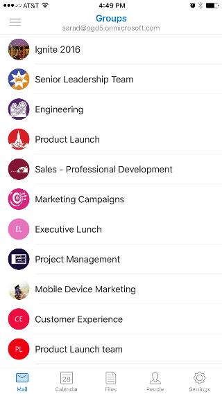Toont het scherm Groepen, met een lijst van groepen zoals 'Ingite 2016' en 'Senior Leadership Team'.