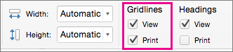 Selecteer Afdrukken onder Rasterlijnen op het tabblad Pagina-indeling