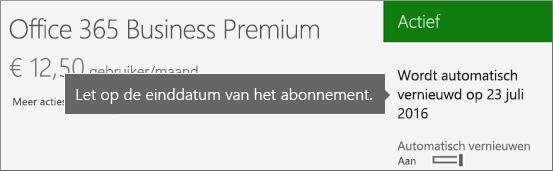 Schermafbeelding van een actief abonnement waarvoor automatische verlenging is ingeschakeld. De datum van automatische verlenging wordt weergegeven.