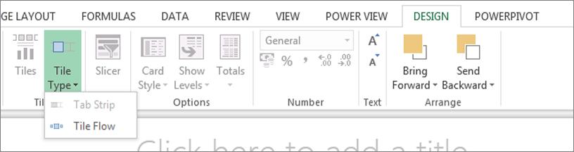 Vervolgkeuzelijst Tegels maken op in Power View
