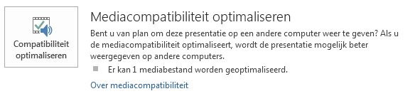 knop Compatibiliteit optimaliseren in PowerPoint