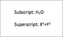 Voorbeeld van subscript en superscript