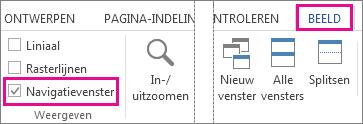 Afbeelding met het selectievakje Navigatiedeelvenster onder Weergave