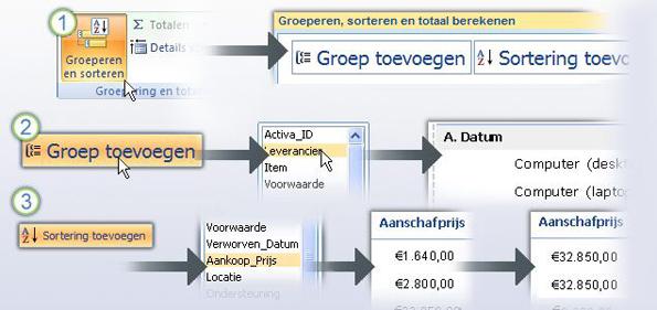 Gegevens in een rapport groeperen en sorteren