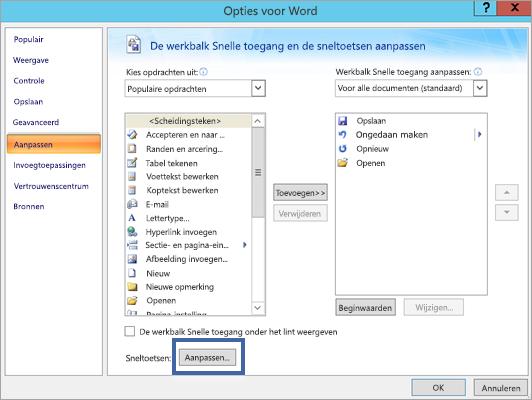 De knop Aanpassen in de opties voor Word - Venster aanpassen