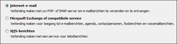 Keuzeservice van Outlook 2010 voor nieuw account