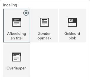 Opties voor pagina-indelingen