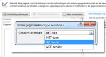 Screenshot van het venster Verbinding toevoegen, waarin u een type gegevensbron kunt kiezen. In dit geval is het type SQL Server, waarmee verbinding kan worden gemaakt met SQL Azure.