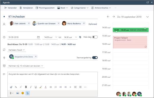Een vergadering plannen in de webversie van Outlook