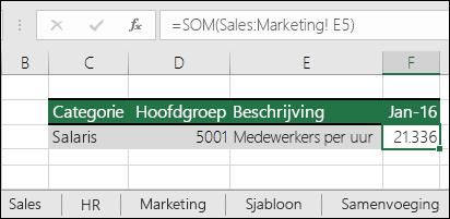 Excel-formuleverwijzing voor 3D-bladen