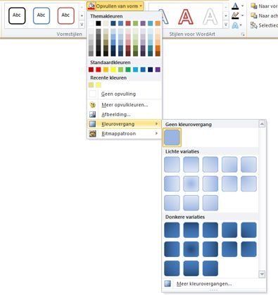 Beschikbare kleurovergangen via het menu Opvulling van vorm