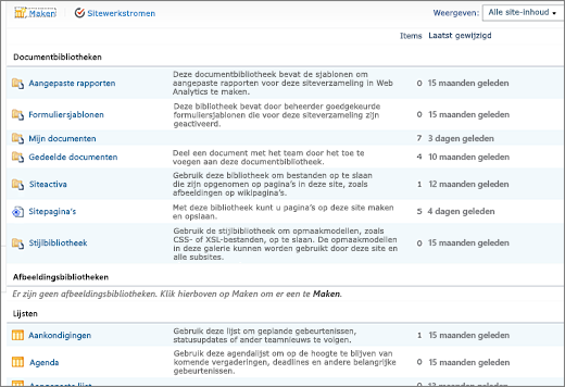 Pagina Alle site-inhoud in SharePoint 2010