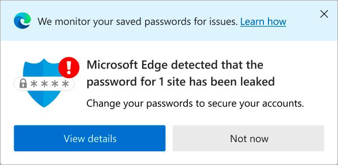 Waarschuwing voor wachtwoord dat is gelekt