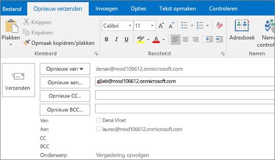 Schermafbeelding van de optie Opnieuw verzenden voor een e‑mailbericht. In het veld Opnieuw verzenden wordt het adres van de ontvanger aangeboden door de functie voor automatisch aanvullen.