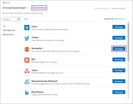 Schermafbeelding van beschikbare verbonden services in de webversie van Outlook
