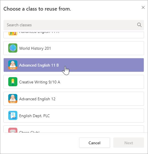 Kies een klas waaruit u wilt hergebruiken.