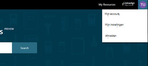 Mijn instellingen bevindt zich rechtsboven in het scherm door op uw gebruikers pictogram te klikken