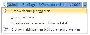 Klik op de pijl omlaag en klik daarna op Bronvermelding bewerken.