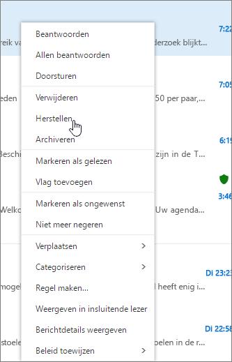 Een schermafbeelding toont de hersteloptie die is geselecteerd nadat een e-mailbericht is geselecteerd in de map Verwijderde items..