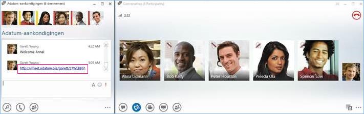 Schermafbeelding van een telefonische vergadering in de chatruimte