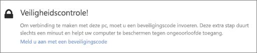 Voorbeeld UI-melding van verificatiecode voor OneDrive-ophaalopdracht