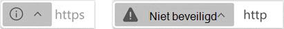 Indicator voor websites die niet beveiligd zijn
