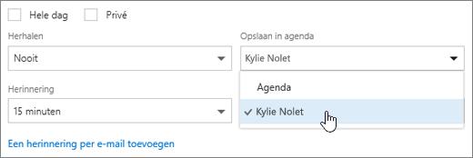 Een schermafbeelding van het menu Opslaan in agenda