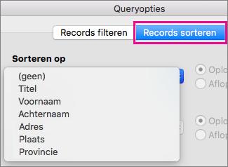 Klik op Records sorteren om items te sorteren in afdruk samenvoegen