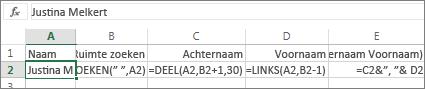 Formules waarmee een volledige naam wordt omgezet naar Achternaam, Voornaam