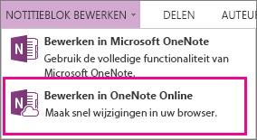 Notitieblok bewerken in OneNote Online