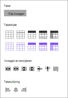 Opties voor tabel invoegen